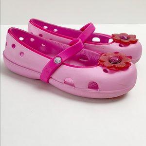Crocs Pink Girls Mary Jane Slip-on Flower Shoes
